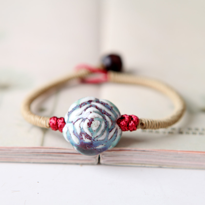 8SEASONS Handmade Jewelry Ethnic Bracelets Brown Color Braided Rope Ceramics Beads Rose Flower Connector Chinese Style , 1 Piece