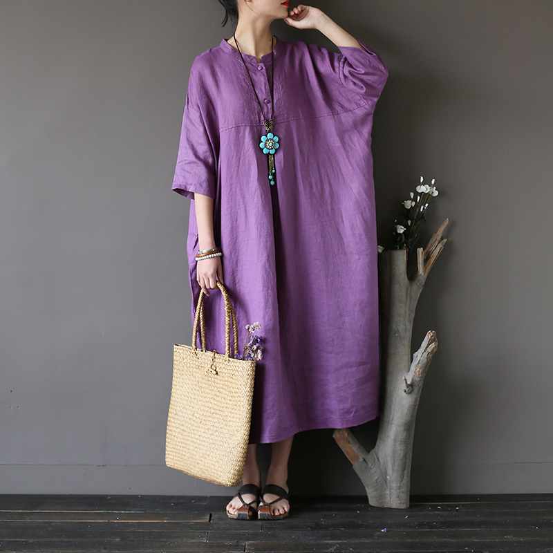 Johnature Women 2019 New Summer Vintage Dress Linen Thin Breathable Comfortably Solid Loose Stand Regular Sleeve