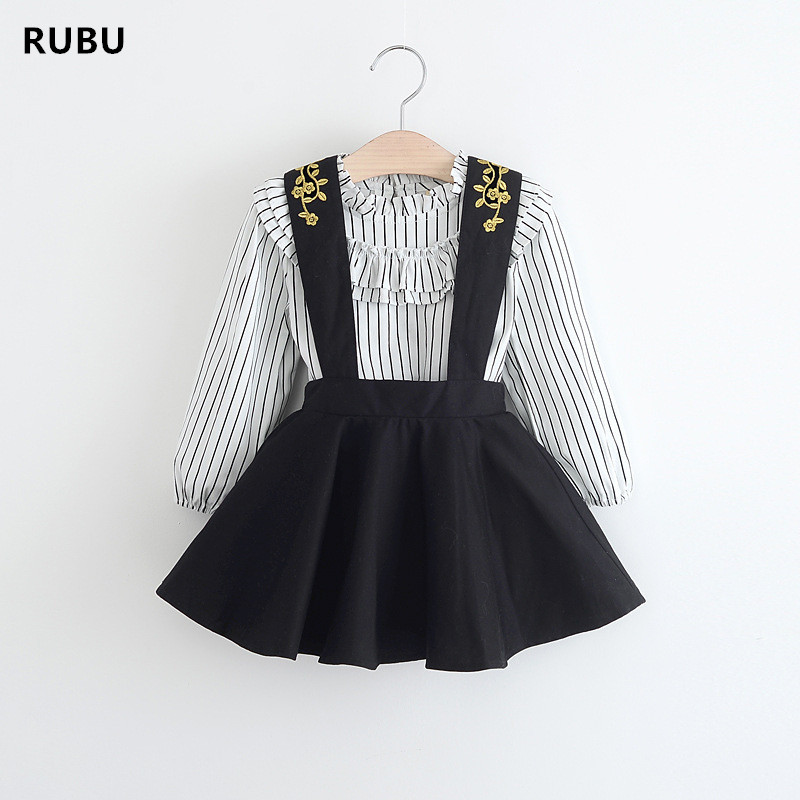 RUBU Новые 2018 Детские платья принцессы для маленьких девочек джемпер платье + рубашка из 2 предметов vestidos детская одежда для свадьбы-пачка От 2 ... ...