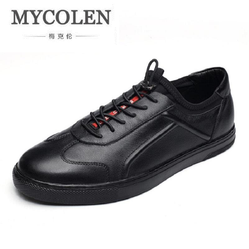 MYCOLEN New 2017 Leather Casual Shoes Men Board Shoes Comfort Lace-Up Round Toe Men Flats Shoes Fashion Superstar Shoes Men men lighted shoes for 2018 casual shoes led shoes led fashion new arrival superstar men