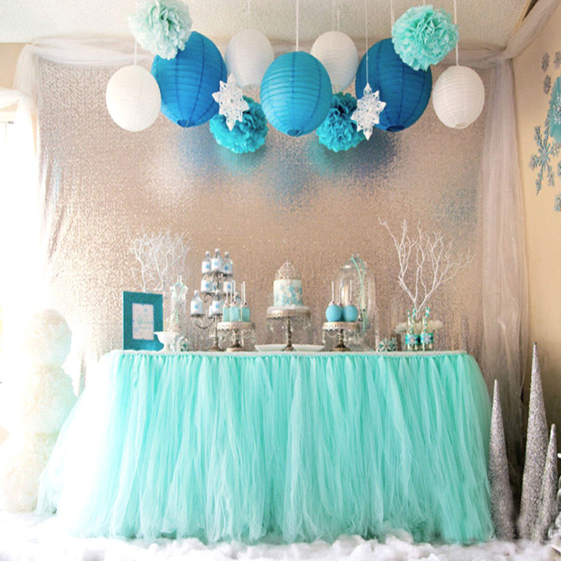 haochu 22 colors fantastic wonderland tulle table skirt wedding birthday party dessert table accessories reception table