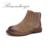 BIMUDUIYU Limpar Cor Da Moda das Mulheres Botas de Outono/Inverno Novo Padrão Retro Curto Botas Primeira Camada de Pele De Porco Plana Femmes sapatos