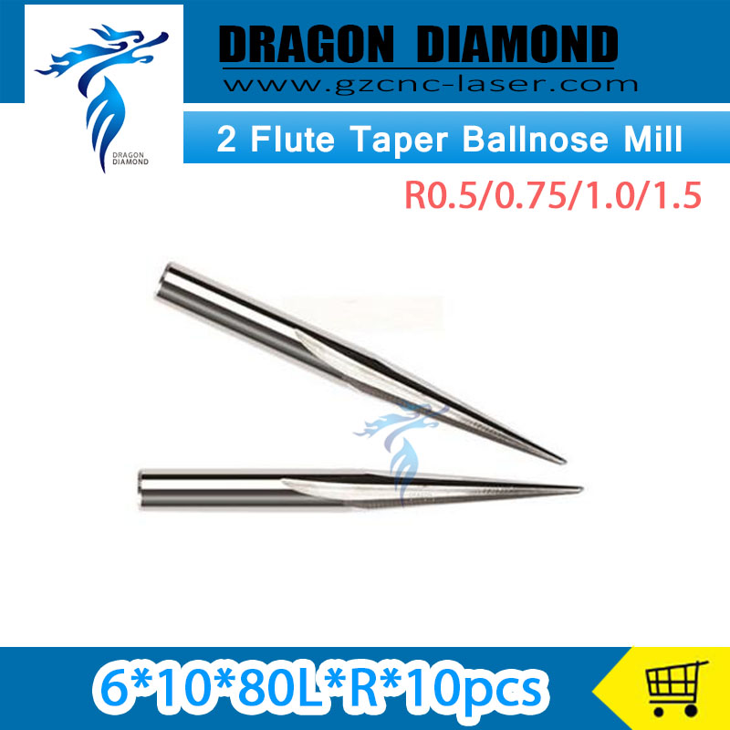 6*10D*80L R0.5/0.75/1.0/1.5 10pcs/lot Two straight flute V shape bits 3D engraving 2 Flutes taper ball nose mill 3 175 12 0 5 40l one flute spiral taper cutter cnc engraving tools one flute spiral bit taper bits