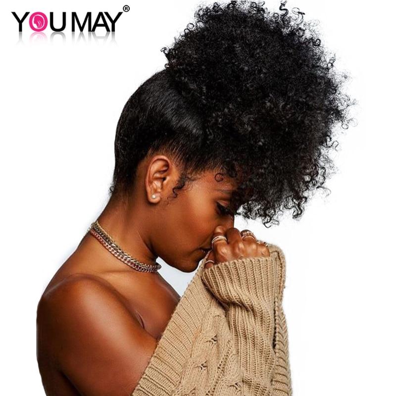 Monglian 3B 3C Clip Ins Ponytail Для Женщин Натуральный Черный Вьющийся Клип в Наращивание Человеческих Волос You May Remy Волосы муфты ганзена