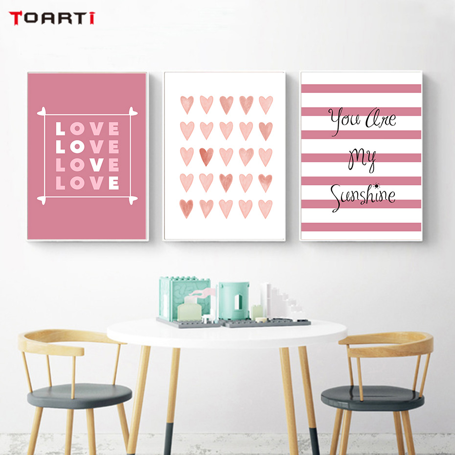 Us 3 99 Nordic Style Romantic Love Heart Canvas Painting Quotes Posters And Prints Wall Pictures For Lover Bedroom Wall Art Home Decor In Painting