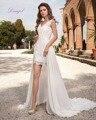 Dreagel Горячие Продажа Sexy V-образным Вырезом Без Рукавов Высокая Низкая Принцесса Свадебное Платье 2017 Великолепная Кружева Аппликации Платье Невесты Robe de Mariage