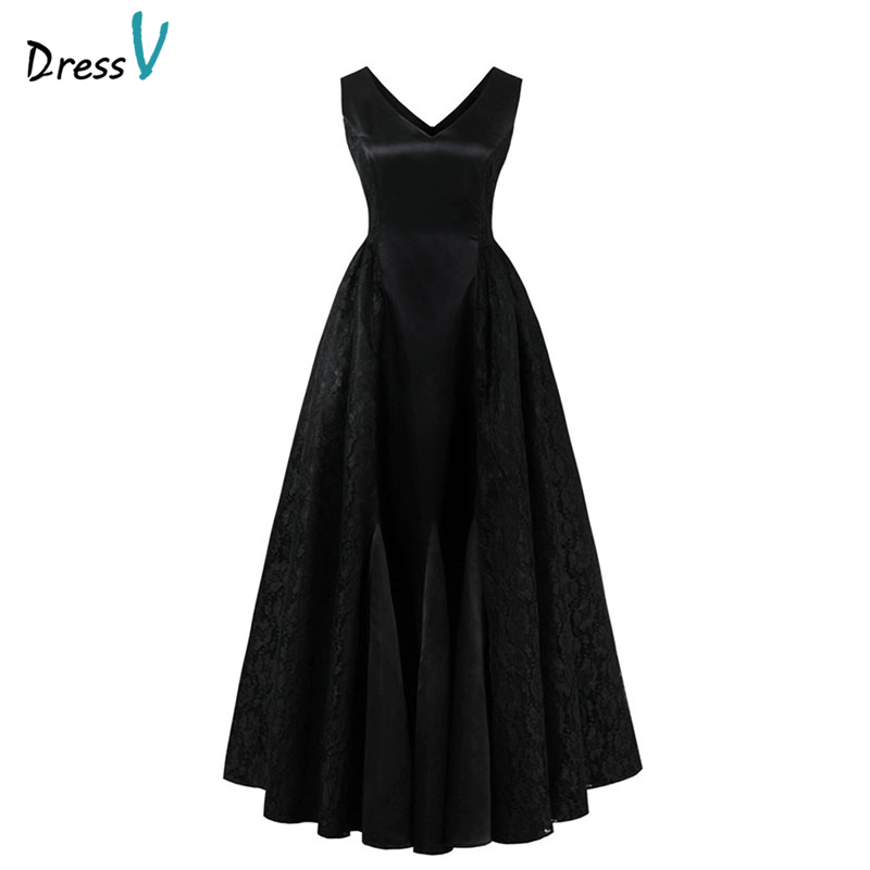 Dressv black   prom     dress   cheap elegant sample v neck zipper up lace a line floor length wedding formal party   prom     dresses