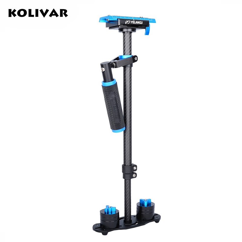KOLIVAR YELANGU S60T Adjustable Portable Carbon Fiber Handheld Steadicam video camera Stabilizer For Canon Nikon Sony Camera SLR kimio ultra slim top brand woman watches fashion ladies crystal clock black ceramics gold luxury women rhinestone diamond watch