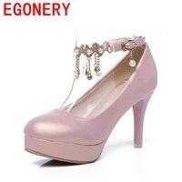EGONERY 2018 nouvelle arrivée perle Fine diamant cingulaire chaussures documentaires élégant et charmant chaîne perle femmes pompes au printemps
