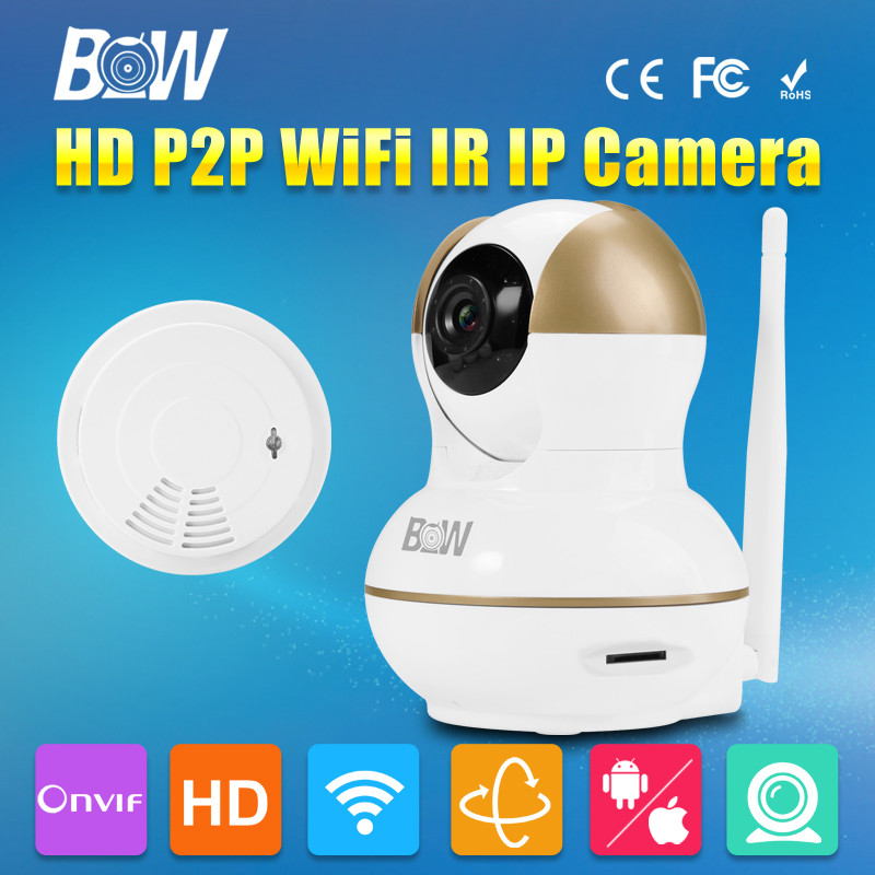 BW Wireless Wifi P2P Plug Play New Mobile Remote Surveillance Camera Trap Security CCTV Mini IP Camera + Smoke Detector Alarm bw wireless wifi door