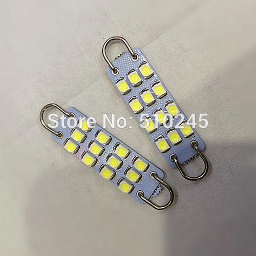 100x Car led 44mm 12 SMD LED Rigid Loop Festoon 12smd Interior Dome Lights white blue