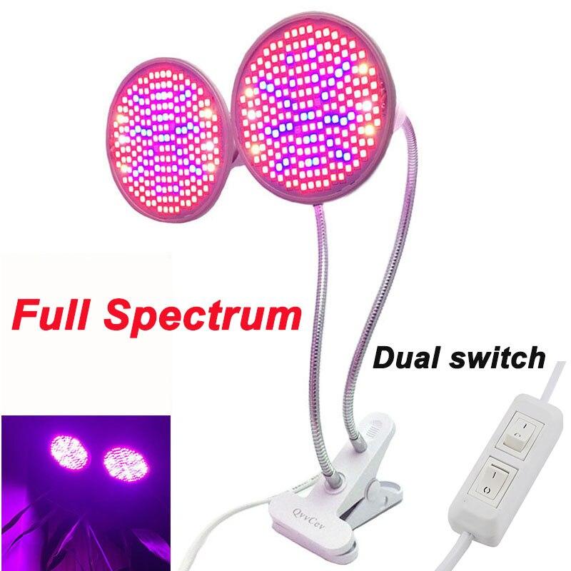 Planta crecer luz interior de doble cabeza UV IR E27 lámpara de bulbo de espectro completo 200 LED para flor verduras Clip el cultivo de semillas de habitación