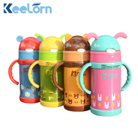 Keelorn 300ml High Quality Kids Vacuum Flasks With Silicone Straw Stainless Steel Children Thermos Mug Thermal