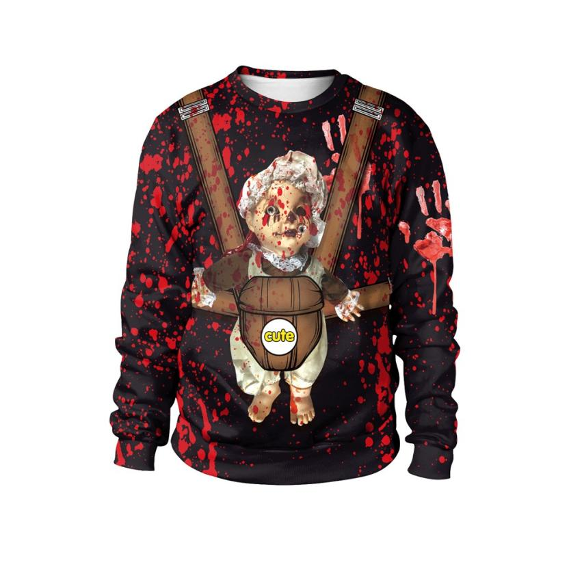 Womail New Arrival Fashion Womens Halloween Blood Handprint Party Long Sleeve Pullover Sweatshirt Woman Sweatshirt 2018 L30813 Structural Disabilities Women's Clothing