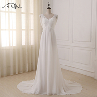 ADLN In Stock White Ivory Beach Wedding Dress Cap Sleeve Beaded Applique Sequin A Line Empire