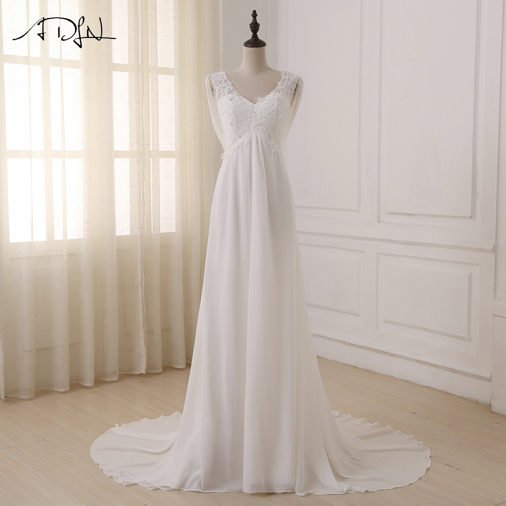 ADLN In Stock White/ Ivory Beach Wedding Dress Cap Sleeve Beaded Applique Sequin A-line Empire Bridal Gowns Zipper Back