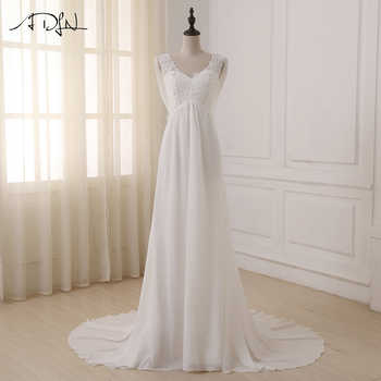 ADLN In Stock White/ Ivory Beach Wedding Dress Cap Sleeve Beaded Applique Sequin A-line Empire Bridal Gowns Zipper Back - DISCOUNT ITEM  37% OFF All Category