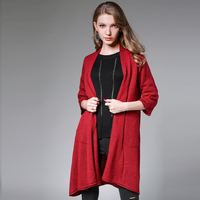 New Women S Long Cardigans Wool Sweater Irregular Knitwear Loose Big Yards Three Quarter Sweater Coat