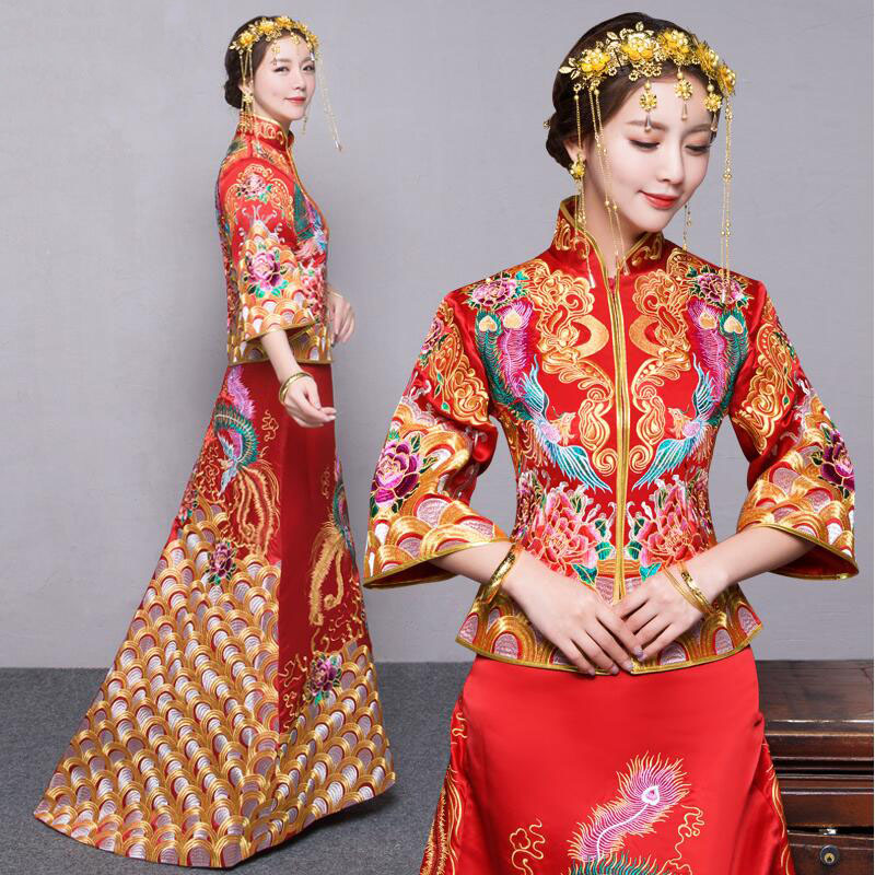 New Chinese style formal dress royal phoenix wedding cheongsam costume red bride vintage Chinese traditional Tang suit Qipao