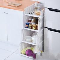 Kitchen shelf floor multi layer stacking basket toy clothing plastic storage basket fruit and vegetable storage blue LM01221148