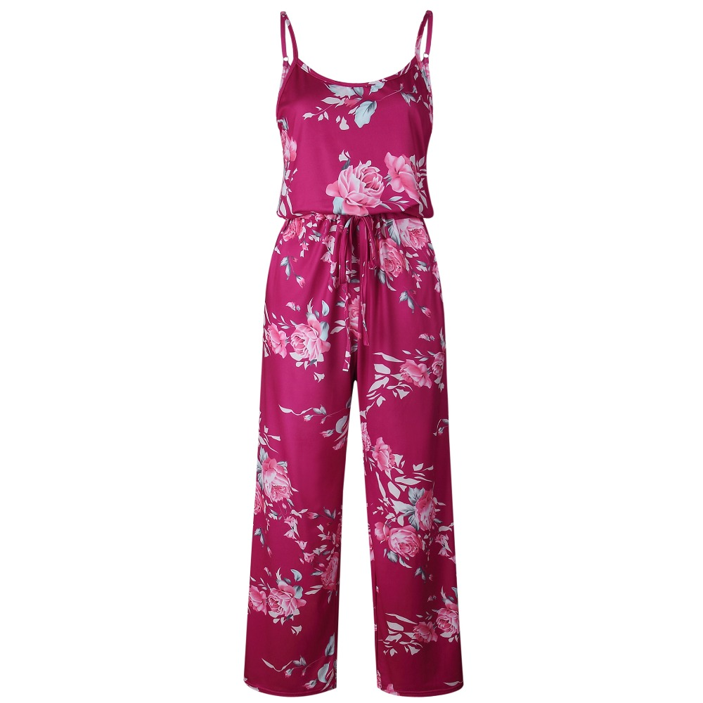 S-3XL Plus Size Sundress Casual Spring Summer Jumpsuits Sexy Sleeveless Tight Waist Flower Print Loose Pants Women Jumpsuits Red