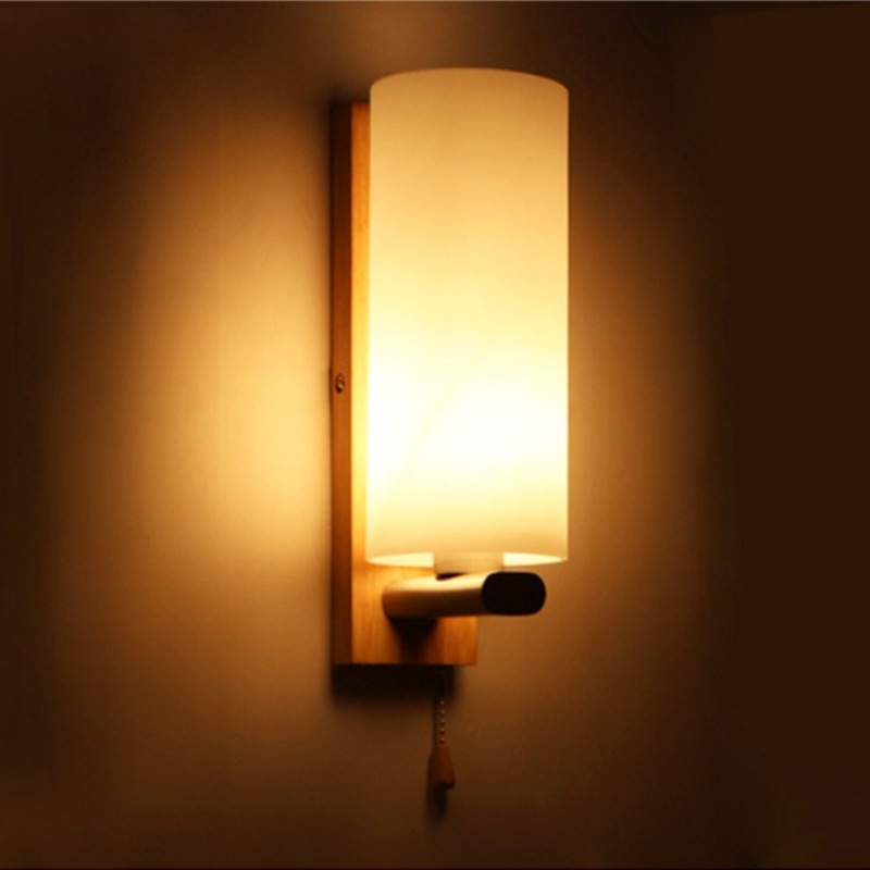 Indoor modern bedside wall lamp simple creative solid wood porch lanterns bedroom living room corridor hotel night light lampara brief modern single head wall lamp indoor use porch light sconce corridor bedroom bedside lamp 220 e27 ceramic lamp shade