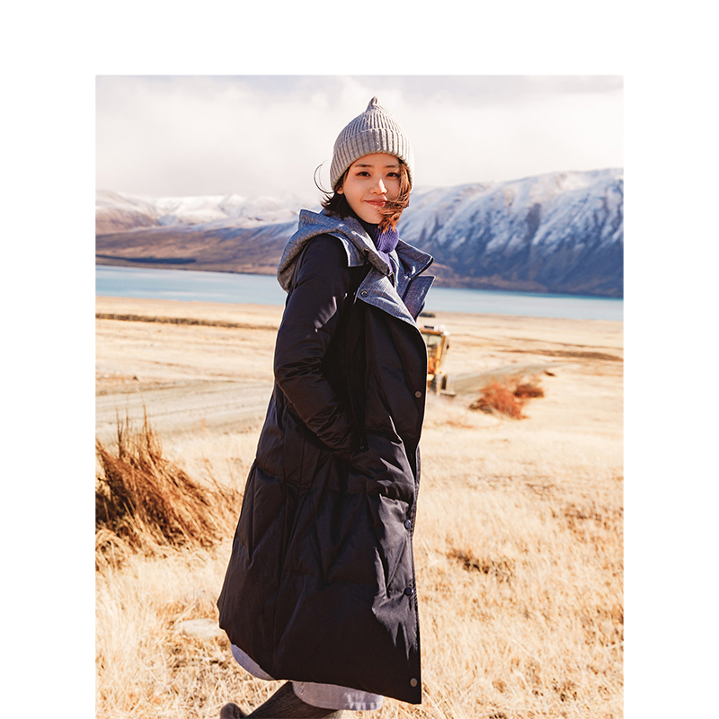 Contraste Manteau Costume Cordon En Deux Automne pièce Couleur Arrivée Du Section Blue Longue Dark Capuche Bas Nouvelle Femelle Inman 2018 0APXTT