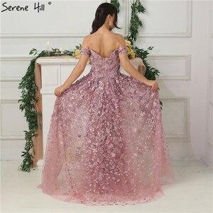 Image 2 - 핑크 오프 어깨 수제 꽃 이브닝 드레스 2020 민소매 크리스탈 섹시한 럭셔리 이브닝 가운 실제 사진 la6596