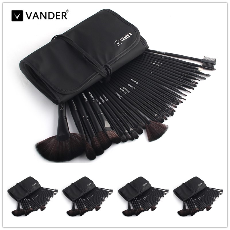 VANDER Black 5*32pcs Makeup Brush Set Professional Cosmetic Kits Brushes Foundation Powder Blush Eyeliner Pincel Maquiagem vander 5 32pcs makeup brush set