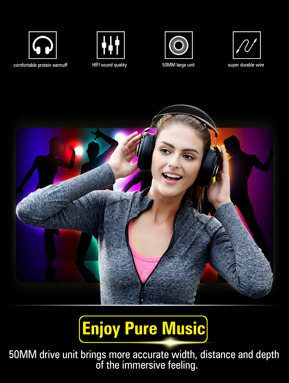 high quality noise cancelling over-head music PC MP3 player mobile phone headphone earphone black orange white -2