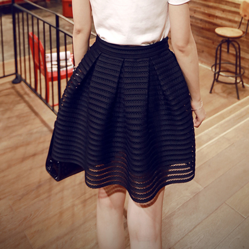 2017 Summer New Style Sexy Fashion Skirt Womens Striped Hollow-out Fluffy Long Skirt Swing Skirts Ladies Black/White Ball Gown