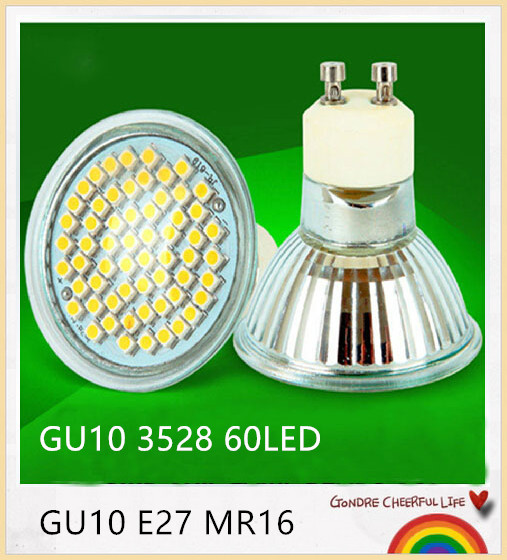 100 stks led spot gu10 e27 mr16 lamp 6 w 9 w hittebestendig glas body 3528