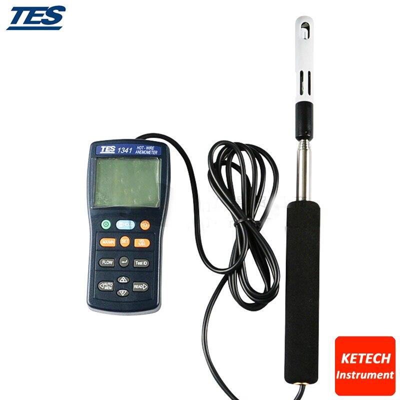 TES1341 Chaude Fil Anémomètre Air Flow Volume Tester 0.1 à 30.0 m/s