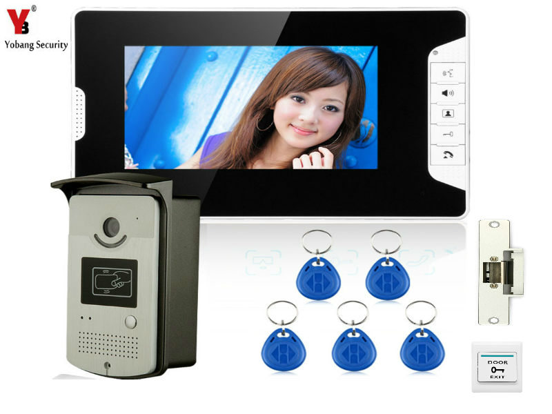YobangSecurity 7 Inch Video Doorbell Door Phone Viewer Home Security Camera Monitor Intercom System with Electronic Door Lock yobangsecurity video door intercom entry system 2 4g 9 tft wireless video door phone doorbell home security 1 camera 2 monitor