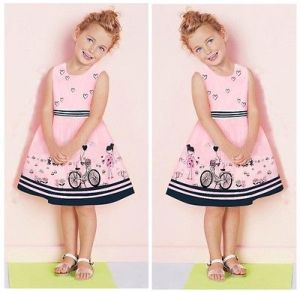 2015 New Kids Baby Girls Summer Beauty Anime Dress Cartoon Love Dress 2-7Y(China)