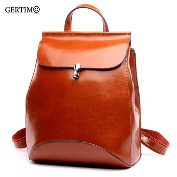 2019 100 %Genuine Leather Small Backpack Women Bag Oil Wax Cow Leather Mochila Vintage Backpacks Black Female Casual Back Pack