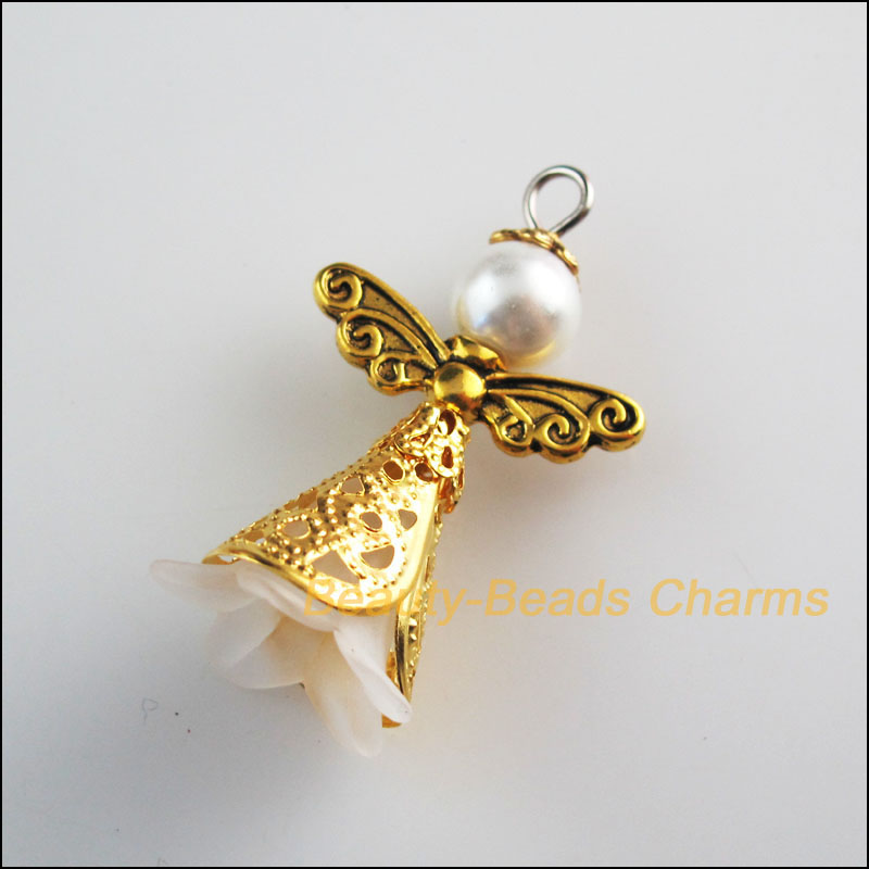4 New Antiqued Gold Tone Charms White Acrylic Angel Wings Pendants 22x37mm