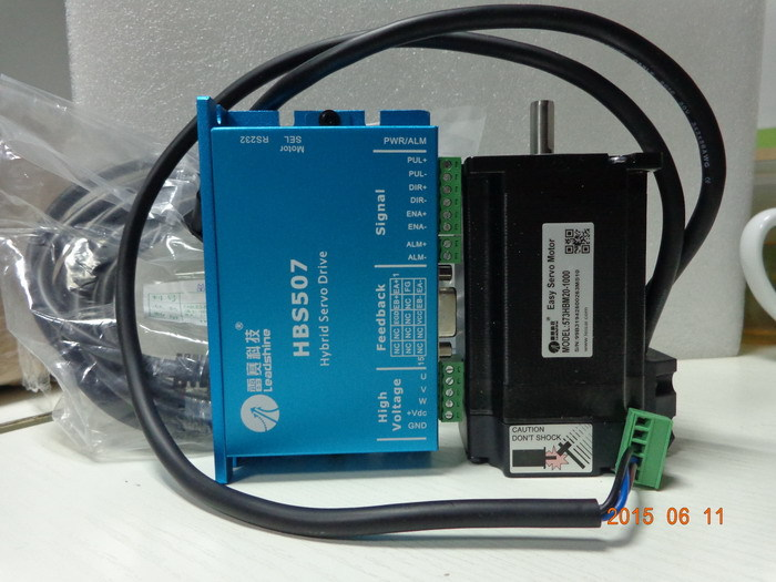 New Leadshine Closed Loop servo Drive HBS507 3-phase servo motor 573HBM20-1000 with 1000 line encoder HBS57 new version 100w new leadshine closed loop system a servo drive hbs507 and 3 phase servo motor 573hbm10 1000 with a cable a set cnc part