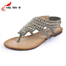 Beaded Gladiator Sandals font b Women b font Metal Decoration Spring And Summer Shoes Bohemia Casual
