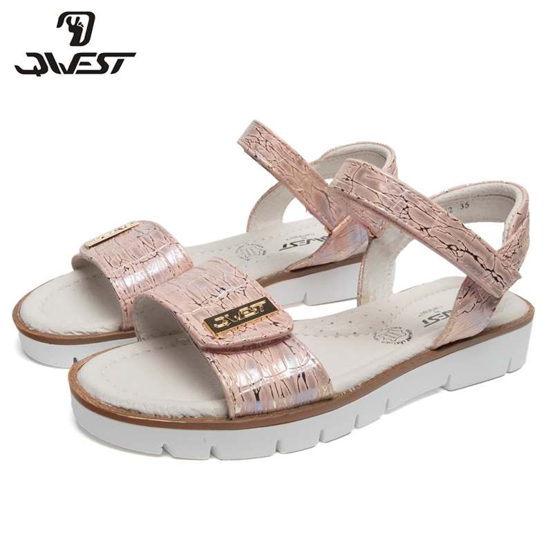 QWEST Brand Arch Leather Insoles Summer Hook& Loop Flat Children shoes Size 32-37 Kids sandals for Girl 91S-JSD-1342 bonjomarisa new brand plus size 33 40 cow leather flower woman shoes high heel women shoes black office summer sandals