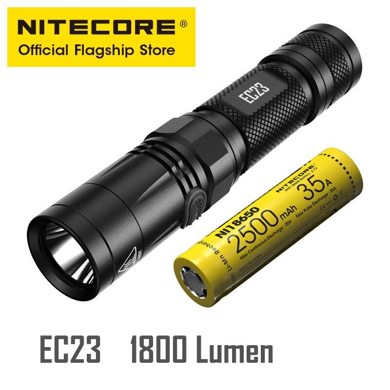 NITECORE EC23 lampe de poche Super lumineuse extérieure haute Lumens petite lampe de poche haute Performance droite
