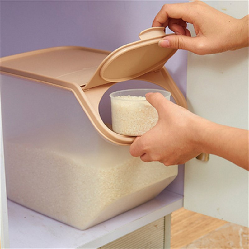Kitchen Storage Box Large Capacity Rice Organizer Grain Storage Container Cereal Bean Container Sealed Box Storage