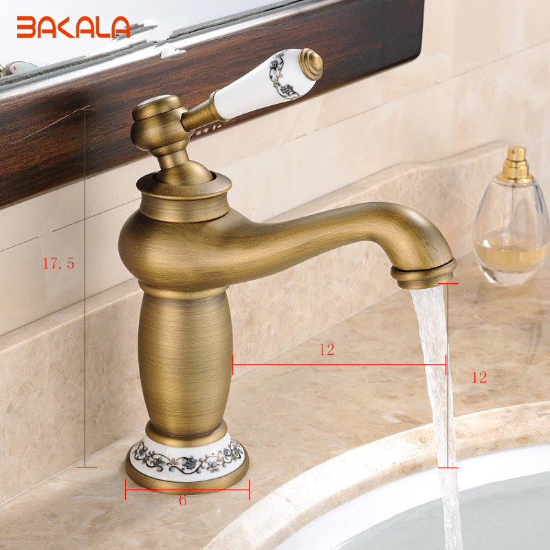 BAKALA New Antique bronze Brass Mixer Tap with China ceramic /Porcelain Arts sink faucet,Bathroom Basin Faucet , bath mixer7606 bakala bathroom kitchen basin faucet antique bronze finish brass mixer tap hot and cold sink faucet bath accessories gz 8017