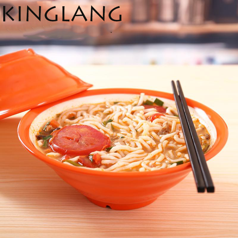 1PC Japanese Restaurant Plastic Melamine Soup Bowl Solid 2 colors Black And Red Double Color Noodle bowl Hot Sale in Bowls from Home Garden