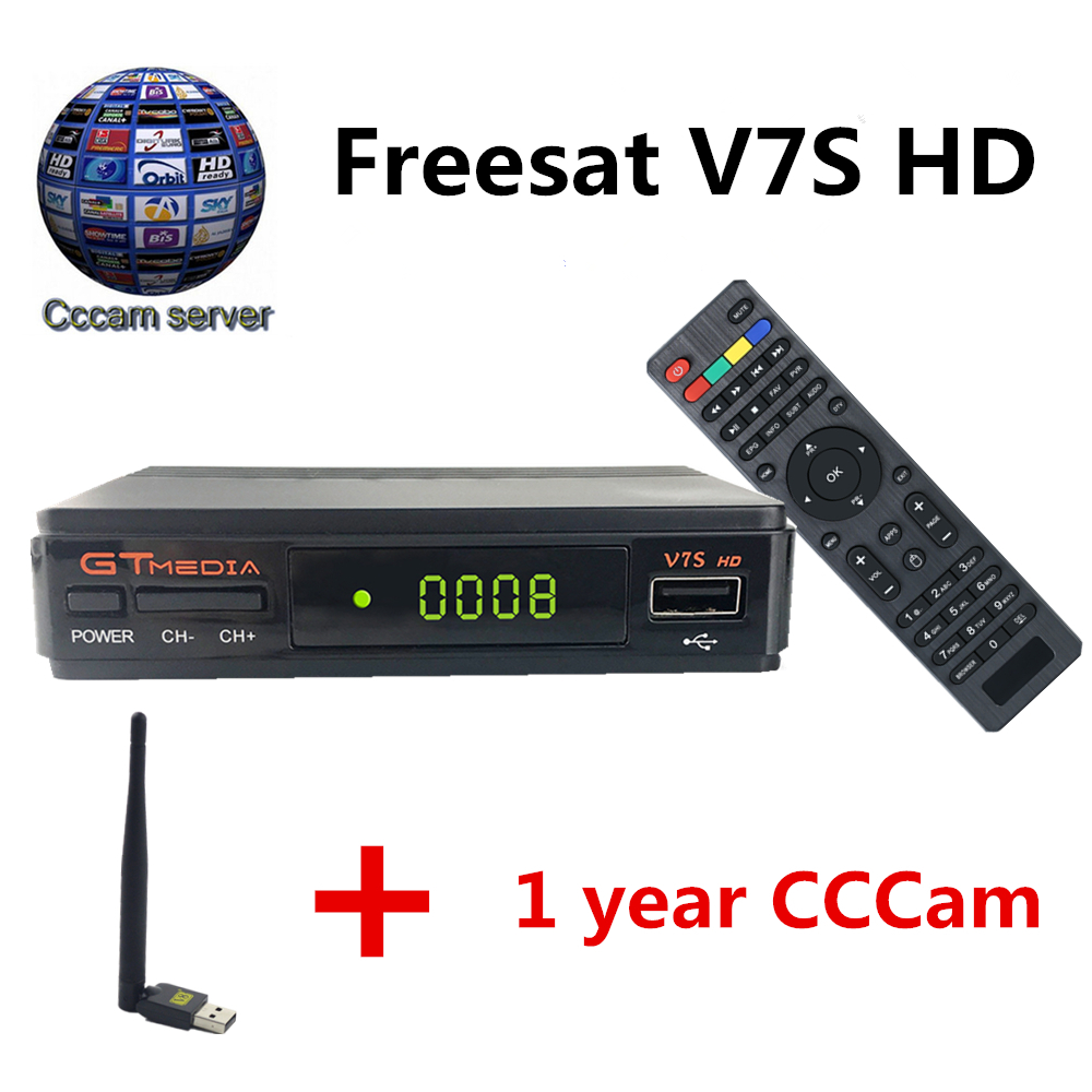 GTmedia V7S Super DVB-S2 Satellite Receiver with 1 Year Cccam 4clines and USB WIFI Spain Italy Germany HD 1080P Satellite tv box eu warehouse shipping hd satellite tv receiver tbs5925 usb dvb s2 tv box unique usb tv box supports vcm ccm acm and 32apsk