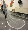 White Wedding Veil 3m Long Comb Lace Mantilla Cathedral Bridal Veil Wedding Accessories Veu De Noiva 2016