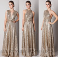 2017 Sparkly Convertible Maid of Honor Dresses A-line Long Cheap Gold Sequins Bridesmaid Dresses robe demoiselle d'honneur