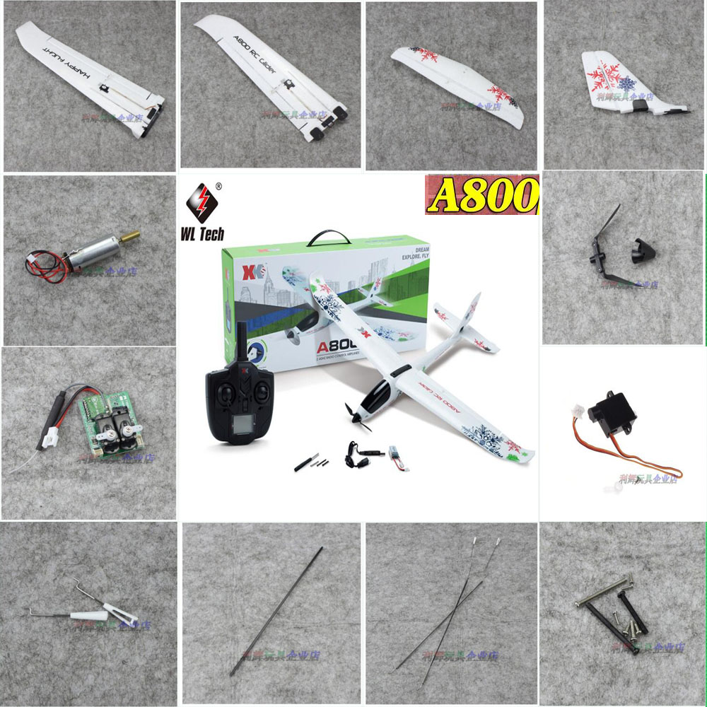 WLtoys XK A800 2.4Ghz 5CH RC Airplane Spare Parts Motor Propellers Blades Wing Tail Group Receiver Board Remote Controller Servo