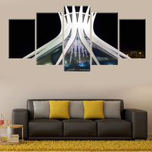цена на Modular 5 panel printing Brasilia Cathedral architectural painting poster wall art living room study decorative canvas painting