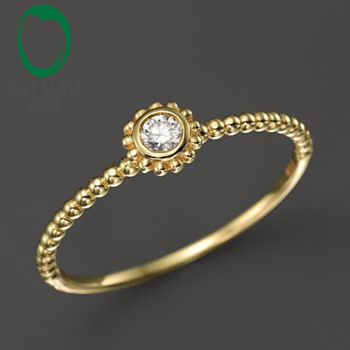 Caimao 18kt/750 الأصفر الذهب 0.10 قيراط جولة قص الماس المشاركة gemstone خاتم الزواج المجوهرات